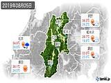 2019年08月05日の長野県の実況天気