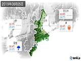 2019年08月05日の三重県の実況天気