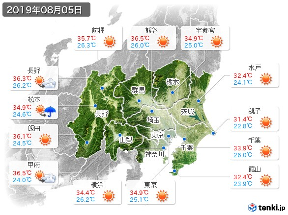 関東・甲信地方(2019年08月05日の天気