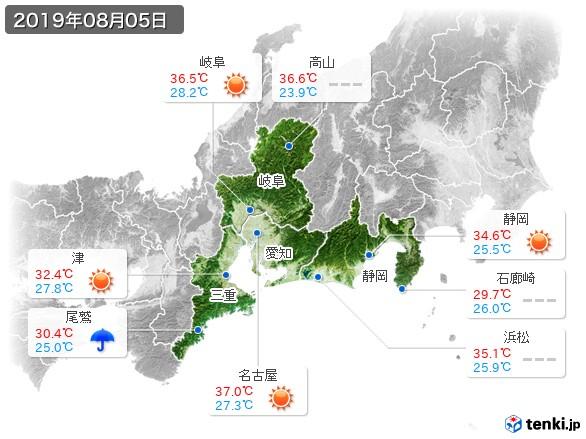 東海地方(2019年08月05日の天気