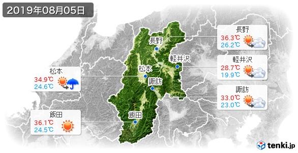 長野県(2019年08月05日の天気