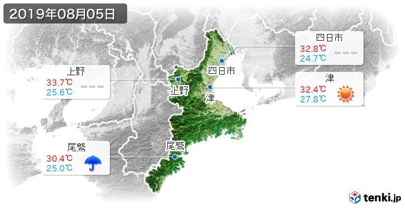 三重県(2019年08月05日の天気