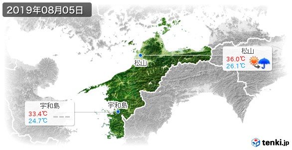 愛媛県(2019年08月05日の天気