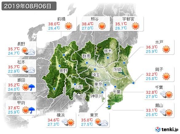 関東・甲信地方(2019年08月06日の天気