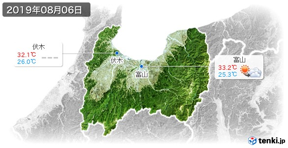 富山県(2019年08月06日の天気