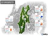 2019年08月07日の長野県の実況天気