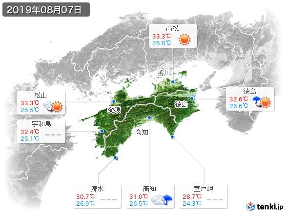 四国地方(2019年08月07日の天気