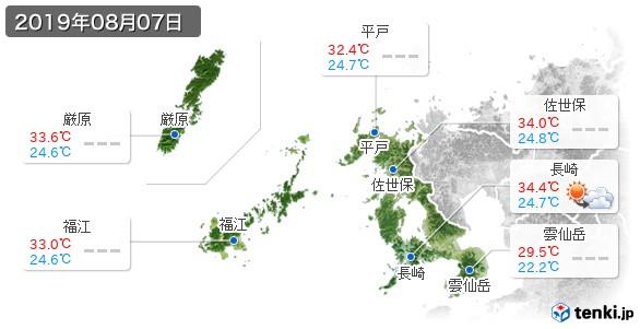 長崎県(2019年08月07日の天気