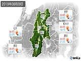 2019年08月09日の長野県の実況天気