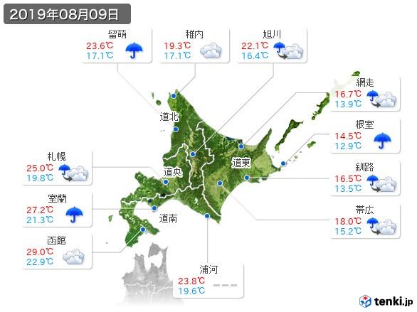 北海道地方(2019年08月09日の天気