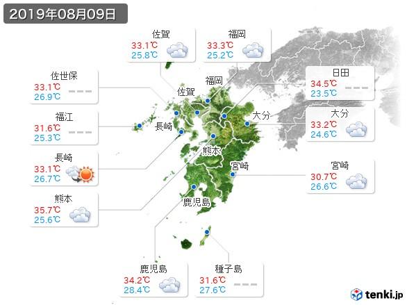 九州地方(2019年08月09日の天気