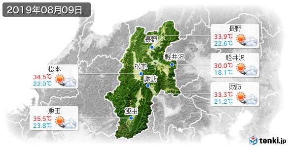 長野県(2019年08月09日の天気