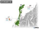 2019年08月11日の石川県の実況天気
