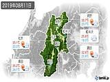 2019年08月11日の長野県の実況天気
