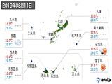 2019年08月11日の沖縄県の実況天気