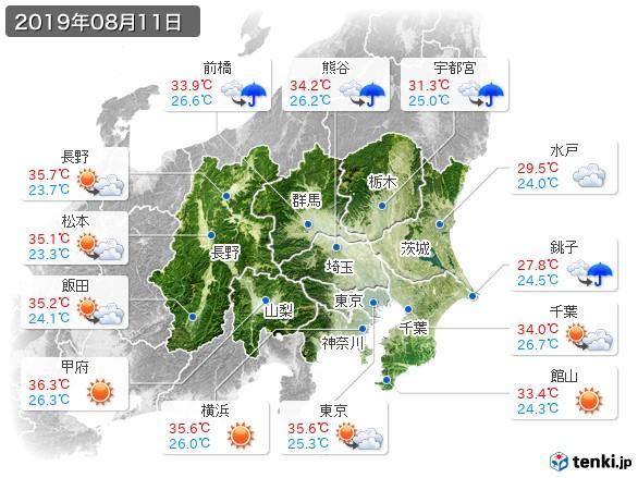 関東・甲信地方(2019年08月11日の天気