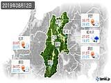 2019年08月12日の長野県の実況天気