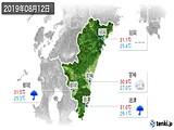 2019年08月12日の宮崎県の実況天気