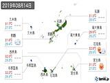 2019年08月14日の沖縄県の実況天気