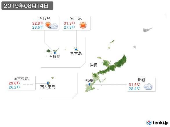 沖縄地方(2019年08月14日の天気