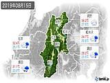 2019年08月15日の長野県の実況天気