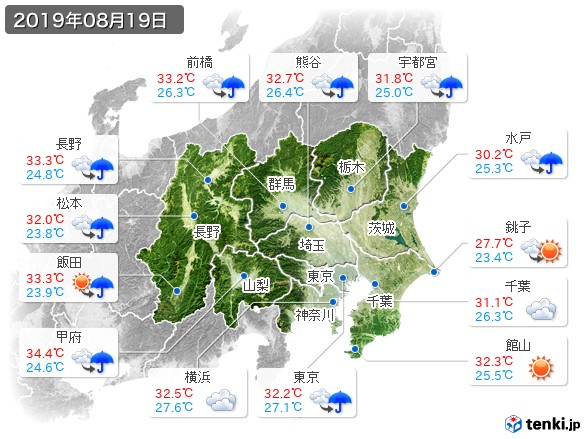 関東・甲信地方(2019年08月19日の天気