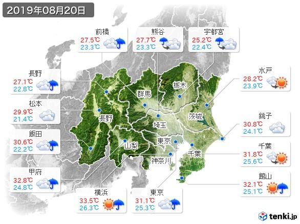 関東・甲信地方(2019年08月20日の天気