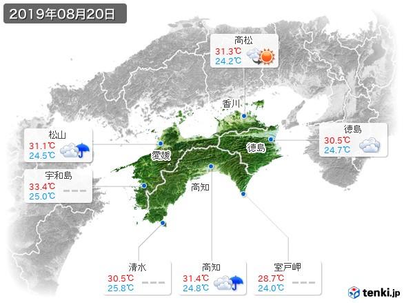 四国地方(2019年08月20日の天気