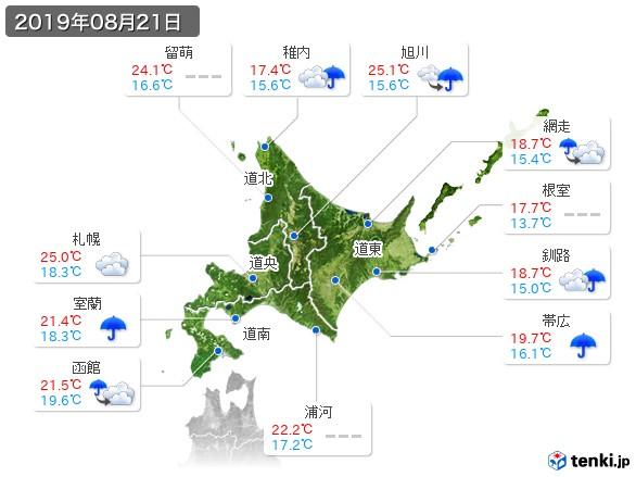 北海道地方(2019年08月21日の天気
