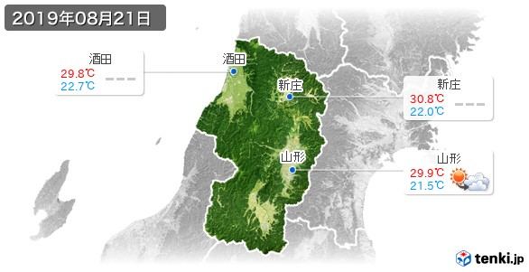 山形県(2019年08月21日の天気