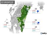 2019年08月23日の宮崎県の実況天気