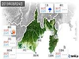 2019年08月24日の静岡県の実況天気