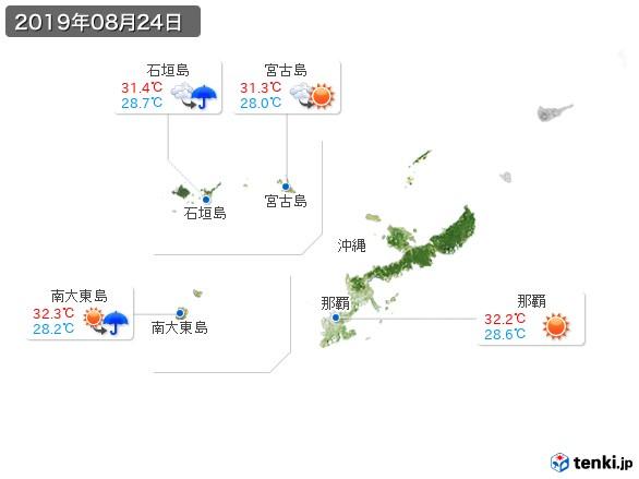 沖縄地方(2019年08月24日の天気