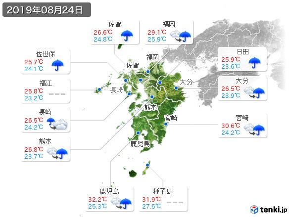 九州地方(2019年08月24日の天気