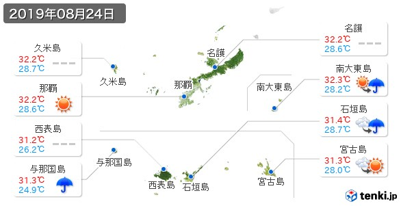 沖縄県(2019年08月24日の天気
