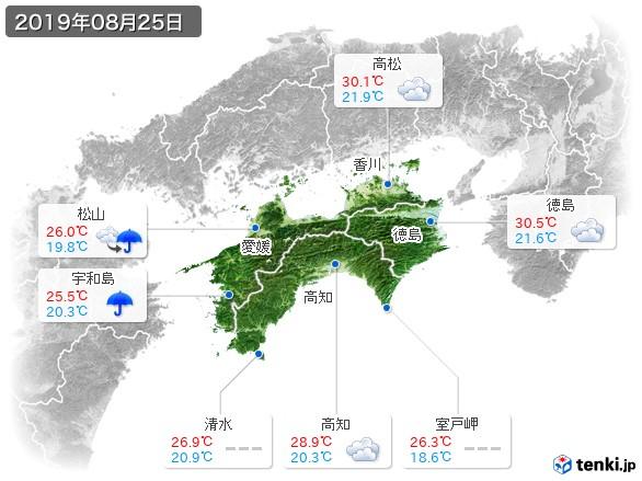 四国地方(2019年08月25日の天気