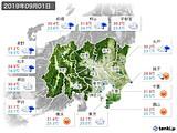 2019年09月01日の関東・甲信地方の実況天気