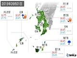 2019年09月01日の鹿児島県の実況天気