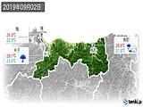 2019年09月02日の鳥取県の実況天気