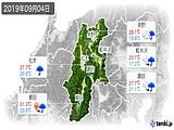 2019年09月04日の長野県の実況天気
