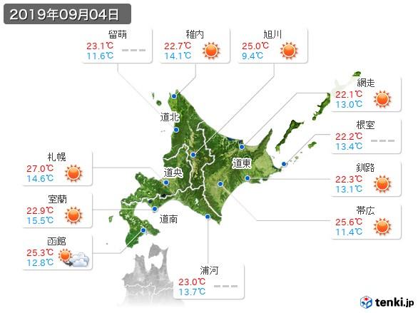 北海道地方(2019年09月04日の天気