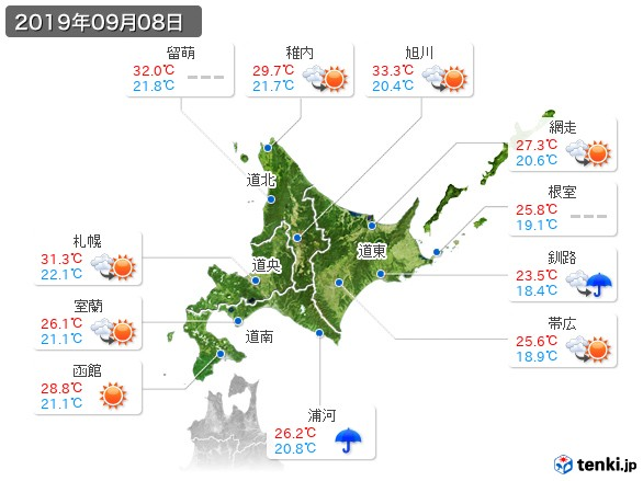 北海道地方(2019年09月08日の天気