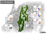 2019年09月09日の長野県の実況天気