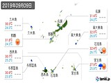 2019年09月09日の沖縄県の実況天気