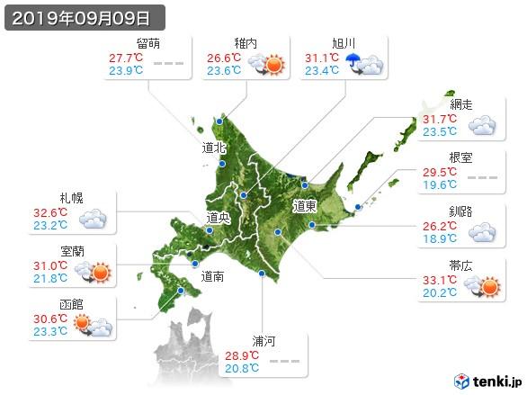 北海道地方(2019年09月09日の天気