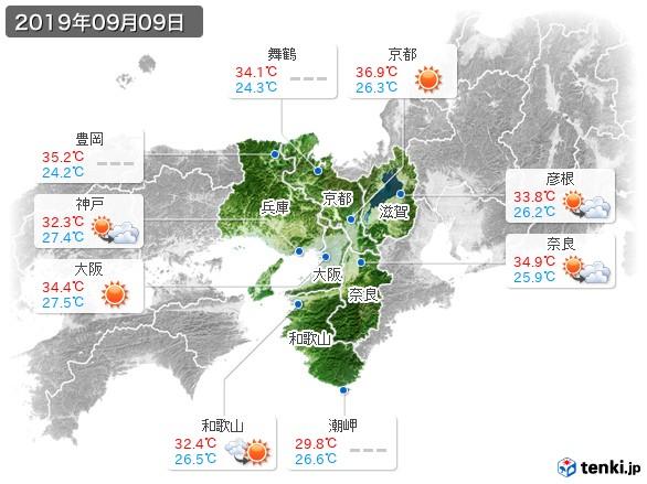 近畿地方(2019年09月09日の天気