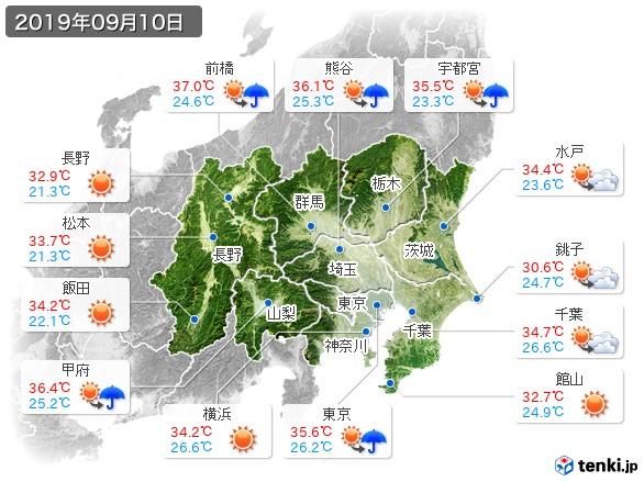 関東・甲信地方(2019年09月10日の天気