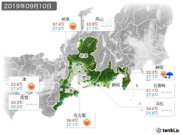 東海地方(2019年09月10日の天気