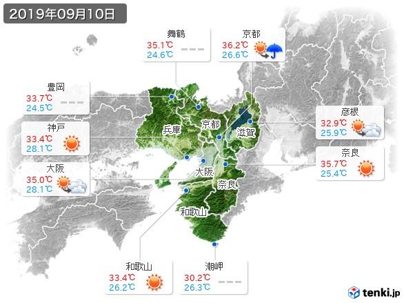 近畿地方(2019年09月10日の天気