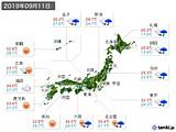 2019年09月11日の実況天気